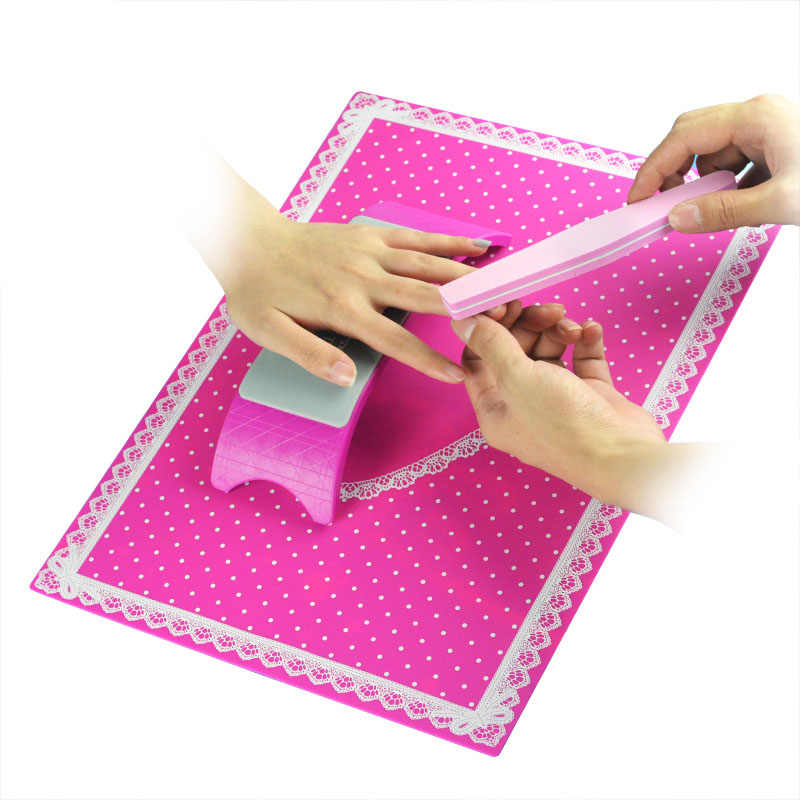 Hot sale 1 Set Nail Art Silicone Practice Cushion Mat Pillow Hand Holder Cushion Lace Table Washable Mat Pad Manicure Tools Kit