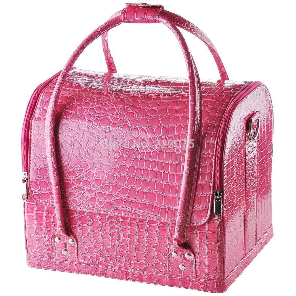 ФОТО 3 colors large Crocodile Makeup Train Bag Handbag big make up Case w/ Removable Tray Cosmetic Jewelry