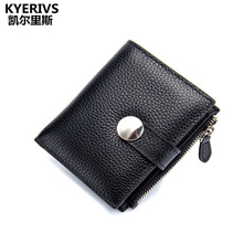 KYERIVS Fashion Small Womens Wallets and Purses  Genuine Leather Wallet Female Zipper Design Coin Purse Pockets Mini Purse Women