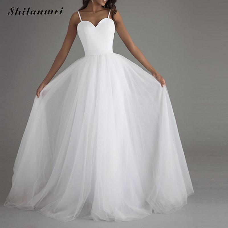 2019 soirée longue robe femme Spaghetti sangle col en V dos nu longueur de plancher blanc piste de mariage Maxi robes Vestidos