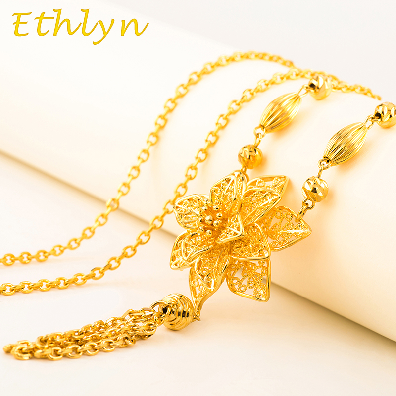 Ethlyn Romantic Flower women costume jewelry Gold Color sweater ...
