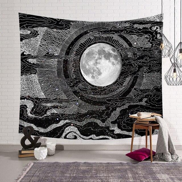שמש MoonTapestry קיר תליית היפי כישוף Tapiz פסיכדלי חווה דקור Tenture Tapisserie חוף בוהמי מותאם אישית