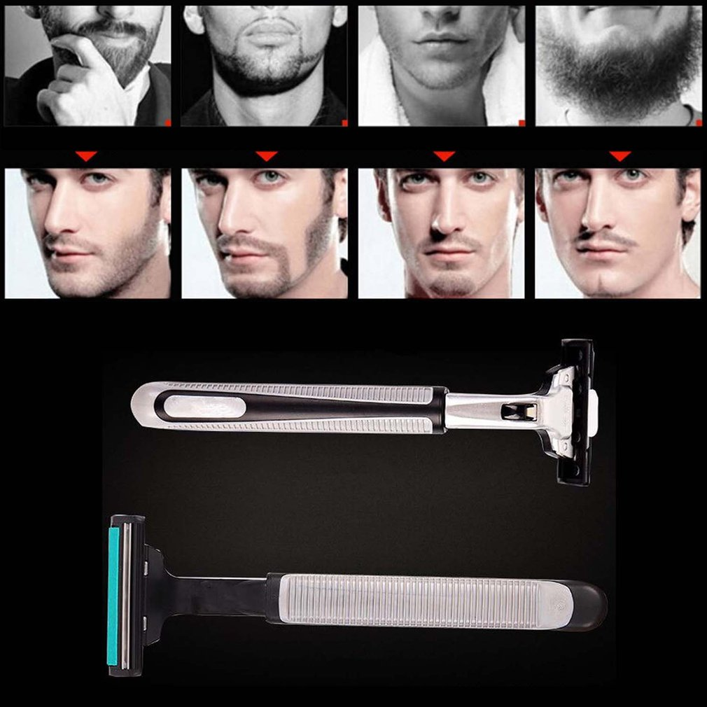 1 Handle 30PCS double Layers Men Face Shaving Razors Blades Male Manual Razor Blades For Standard Beard Shaver Trimmer Blades in Electric Shavers from Home Appliances