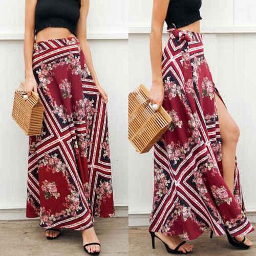 87732c6ea3b0 ... Summer Lady Casual Holiday Skirt Women High Waist Floral Slit Ladies  Summer Long Maxi Skirt Beach ...