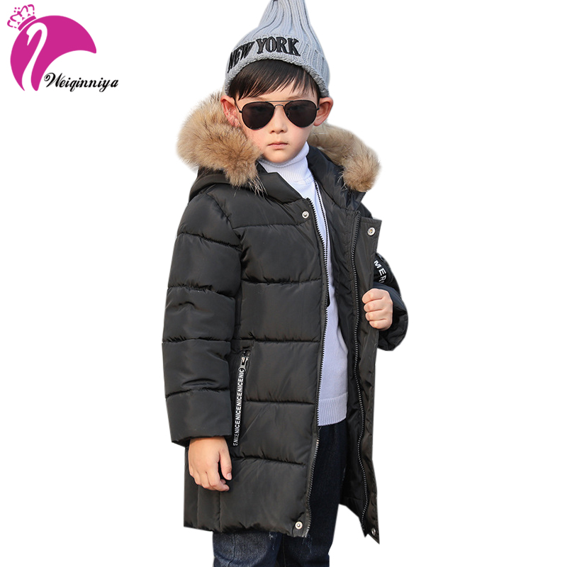 weiqinniya Boys Down Parkas Jackets Winter Kids Parka Fur Hooded Jacket For Boys Fashion Children Letter Down Jacket Boy Jackets letter print lengthen hooded zip up jacket