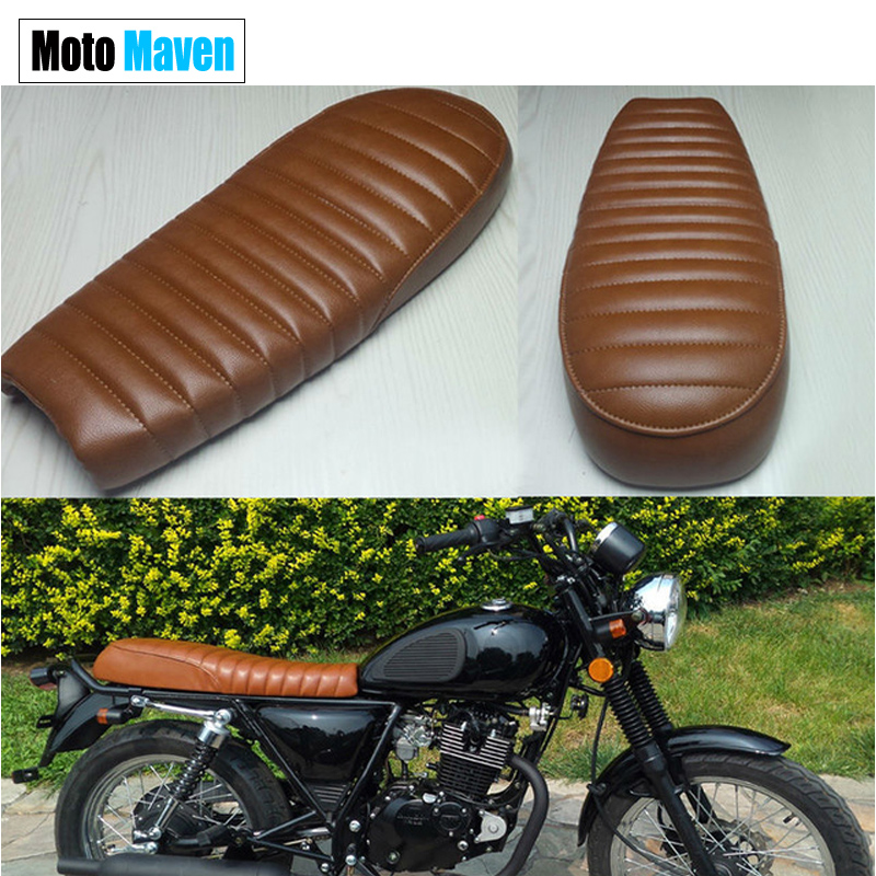 2016 BROWN  NEW FLAT  MASH  MOTOCYCLE SEATS COVER SET WITH BOTTOM BRAKET CAFE RACER CUSHION  VINTAGE UNIVERSAL SEATS