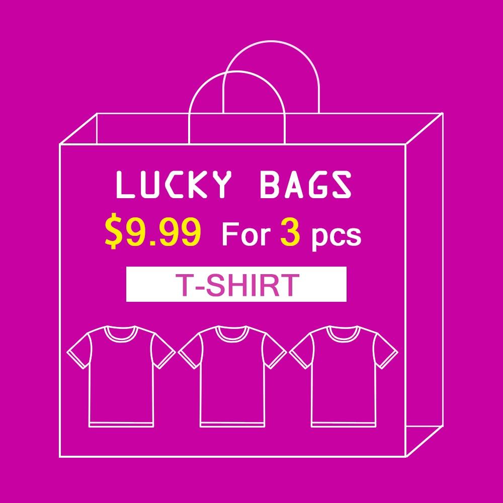 NADANBAO Random 3pcs Big Surprise Printed Women T-shirt High Quality Elastic T Shirt Lucky Bags New Year Gift S-XL