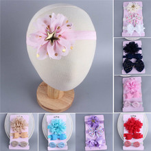 New 3Pcs Baby Girls Floral Bows Headband Kids Cute Turban Knot Hairband Headband Bebe Girls Princess Costume Hair Bands Head(China)