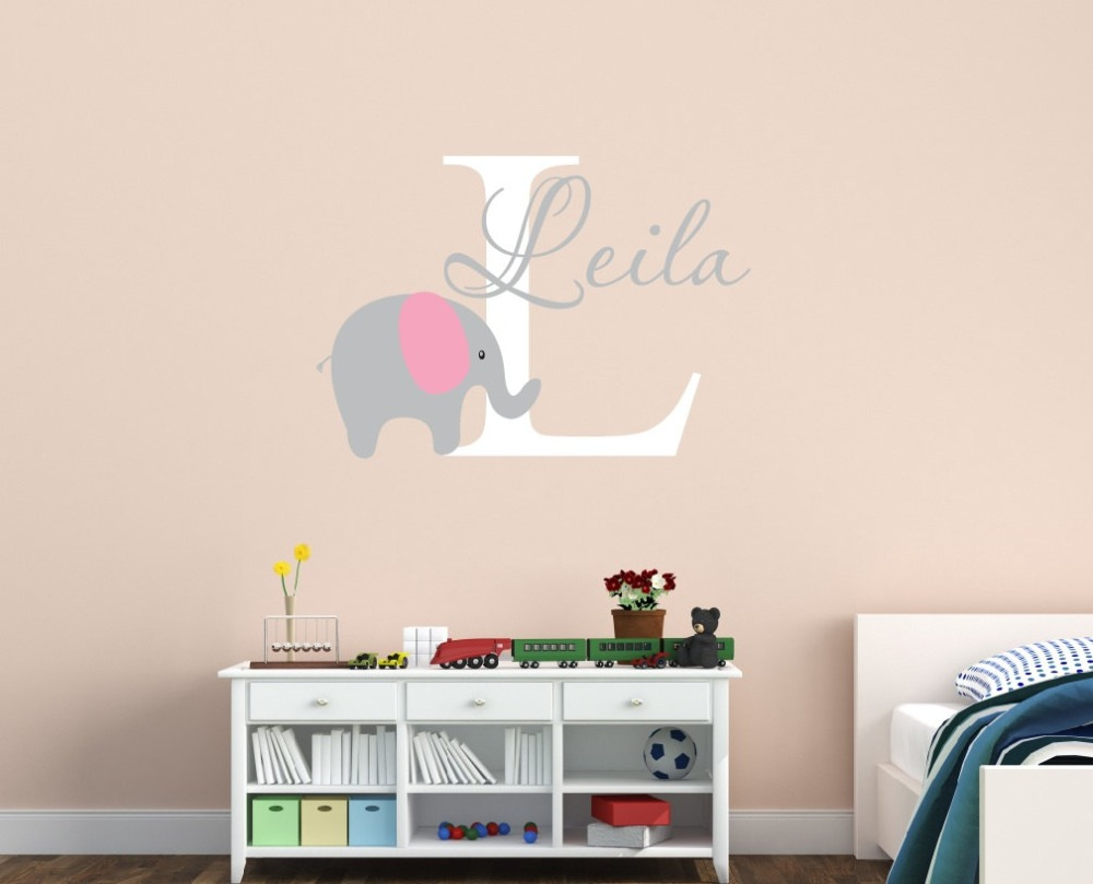 Online Shop Customized Name Elephant Wall Decal For Kids Girls Boys
