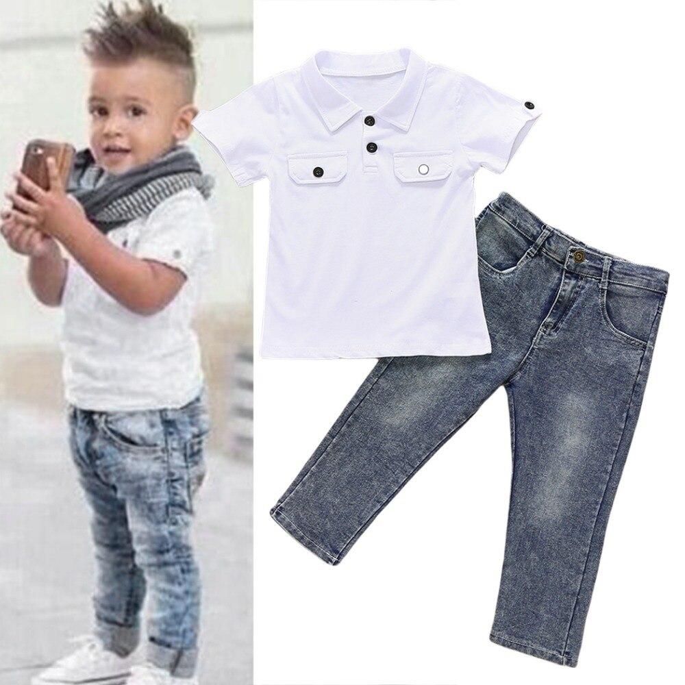 Boys summer denim clothing set boys clothing short sleeve for Boys pants and shirts