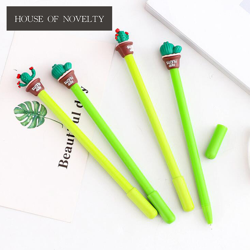 4 pcs/lot Normal Cactus Gel Pen Ink Pen Promotional Gift Stationery School & Office Supply