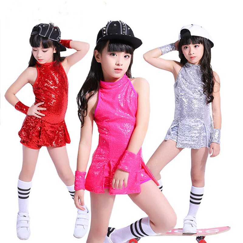 Children Stage Dancewear Kid Hip-hop Jazz Dance Suit Paillette Modern Dance Clothing Girl Cheerleading Costumes