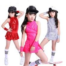 Los niños etapa ropa chico hip-hop danza Jazz traje Paillette danza moderna ropa  de niña trajes de porristas 18987400a07