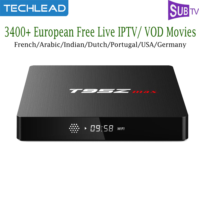 T95Z MAX Android 7 1 TV Box S912 Octa Core With 1 Year Subtv French IPTV