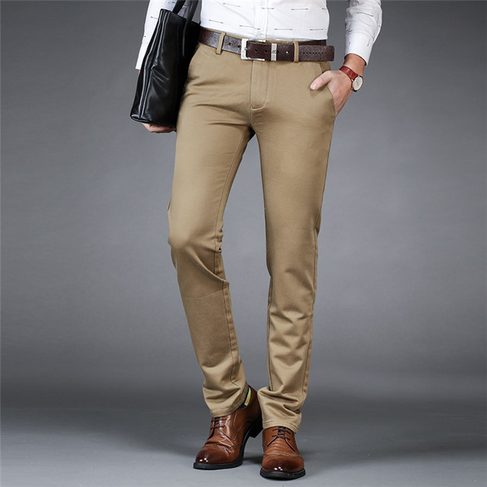 2019 New Mens Pants Solid Simple Leisure Slim Pants Trousers All-match Male Men's Work Suit Pants,002