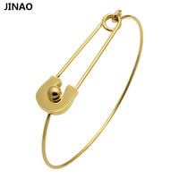 Jinao Silver And Gold Plated Safety Pin Shape Bracelet Bangles Stainless Steel Bangle For Women Gift