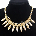 Egyptian Cleopatra Gold Pyramid Link Spike Stone Collar Bib Necklace Jewelry 2017 New