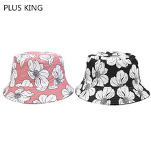 New High Quality Women Bucket Hat Flower Style Ladies Cap Pink Yellow Navy Black 4 Colors