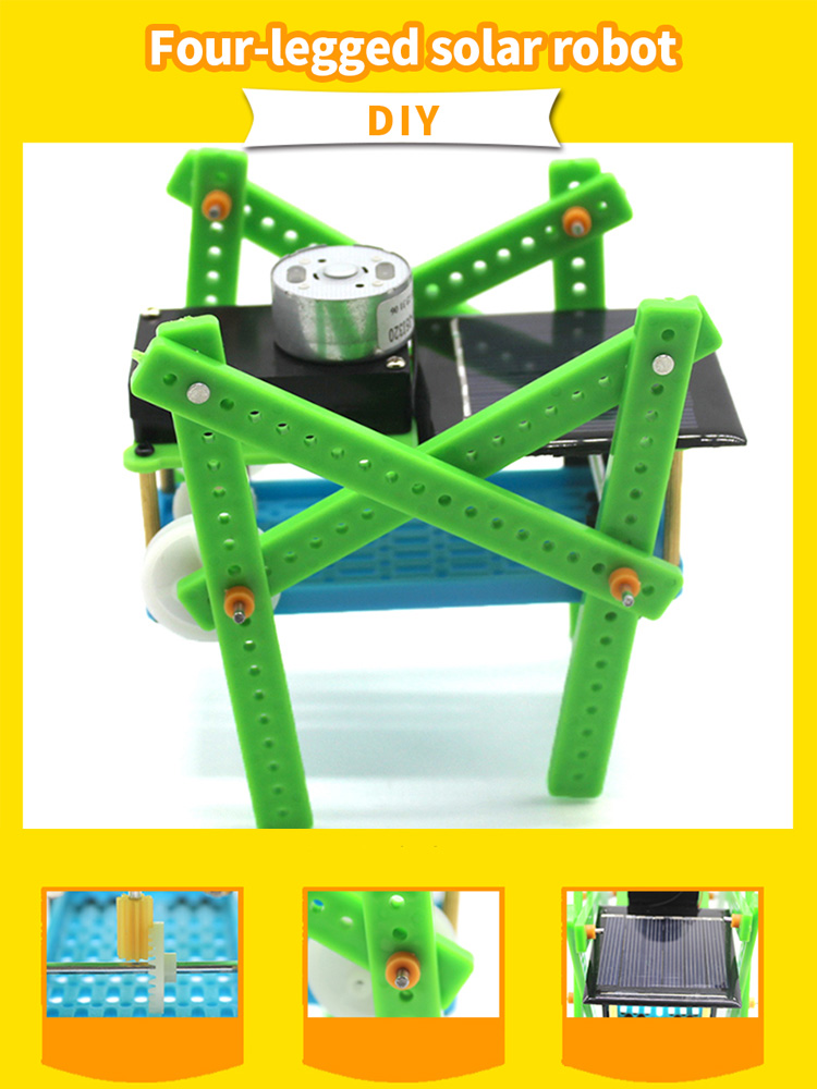 Assembling DIY Puzzle Toys Child Educational Gadget Solar Power Quadruped Smart Robot Classis Energy Kit Kids Gift