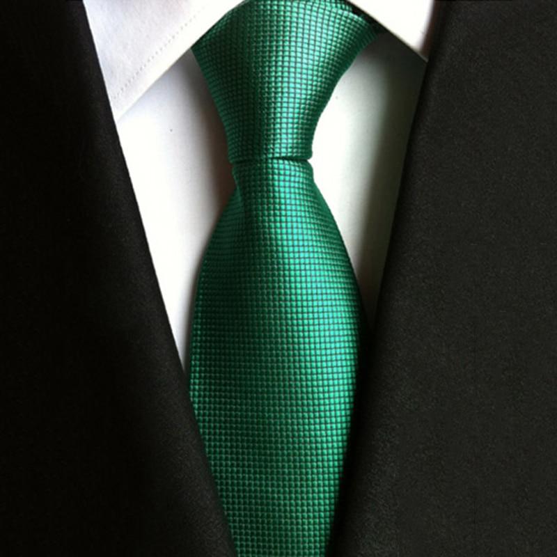 8CM Green Man Silk Neckties For Wedding Suit Accessory Jacquard Woven Gravata Slim Necktie Polyester Neck Tie Classic Stripe Tie