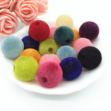 10 12 14 16 18mm Acrylic Flocking Felt Spacer Beads Mixed Color Chunky Diy Beads Fit Making Necklace&Bracelet(China)