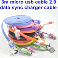 BrankBass 3m micro usb cable 2.0 data sync charger cable for Samsung S2 S3 S4 S5 S6 for HTC for Sony All smartphone phone