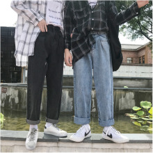 купить Jeans Men 2018 Autumn New Denim Trousers Man Solid Color Fashion Casual Large Size Loose Straight Wide Leg Cowboy Pants Male в интернет-магазине