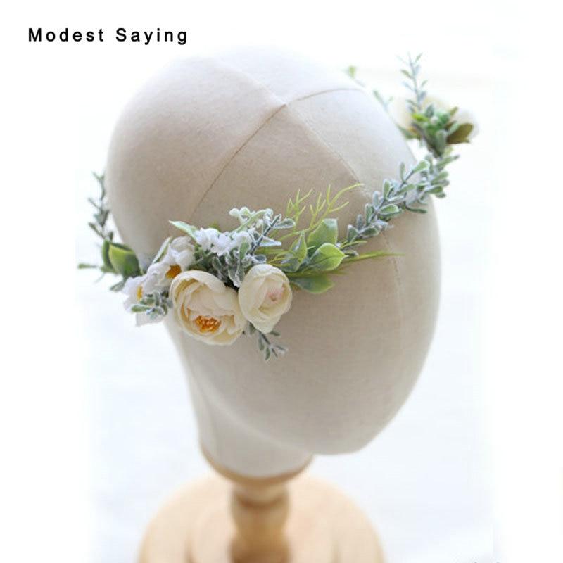 Natural Flowers Wedding Head Flowers 2018 Bridal Headwear with Ribbons Bridal Wreath Ornaments Wedding Accessories Headpiece