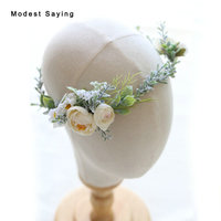 Natural Flowers Wedding Head Flowers 2018 Bridal Headwear with Ribbons Bridal Wreath Ornaments Wedding Accessories Headpiece