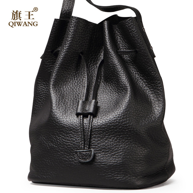 QIWANG Ruched Hobo Bag Real Leather Soft Bucket Bag Thickness ...