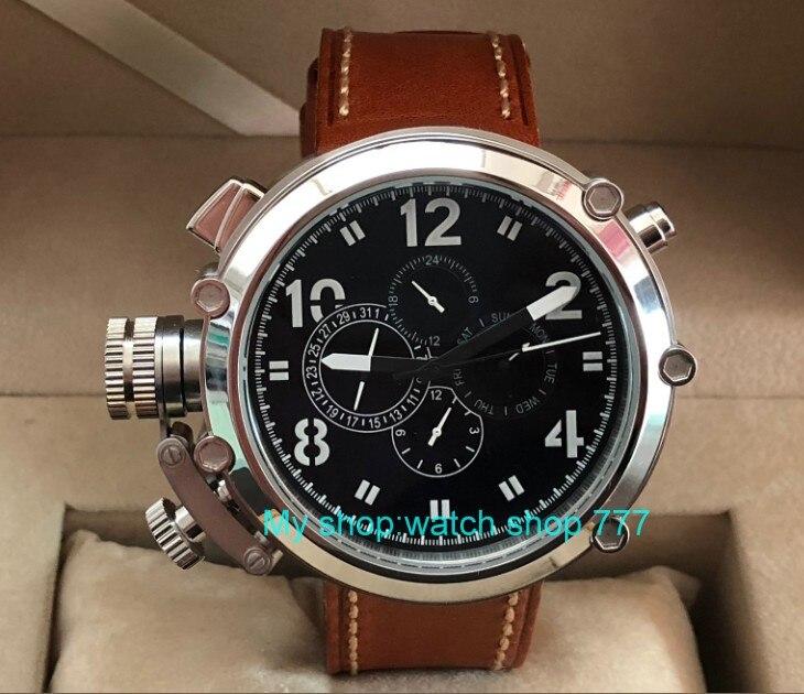 50mm parnis zwarte wijzerplaat linkerhand type Automatische Self Wind beweging multifunctionele lichtgevende mannen horloges pa64 p8-in Mechanische Horloges van Horloges op  Groep 1