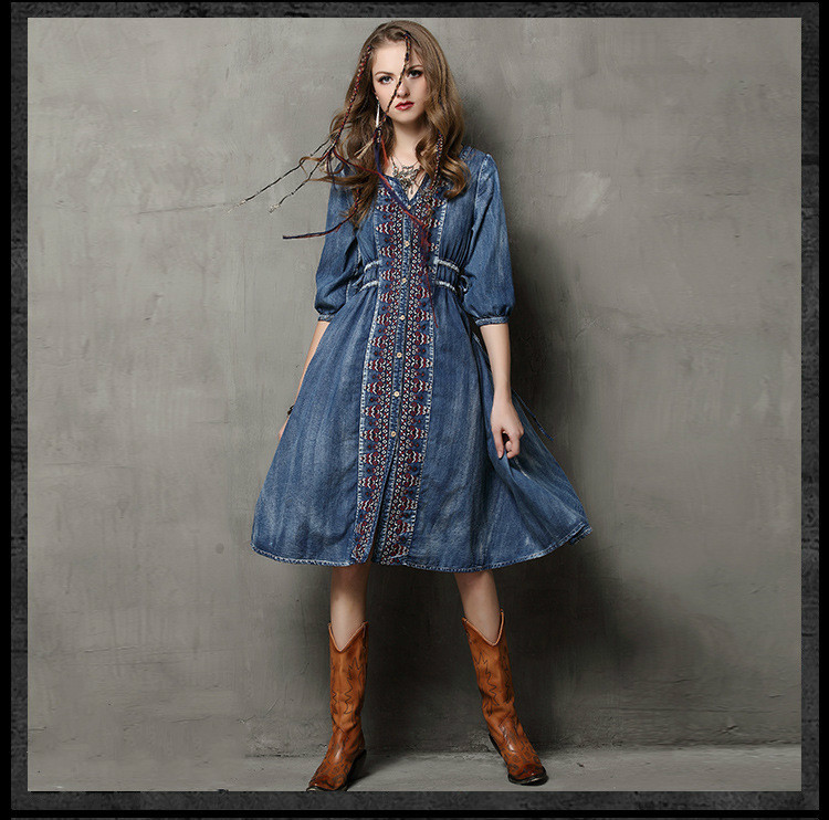 Bohemian boho design three quarter sleeve o neck embroidery patchwork denim dress autumn vintage ethnic denim