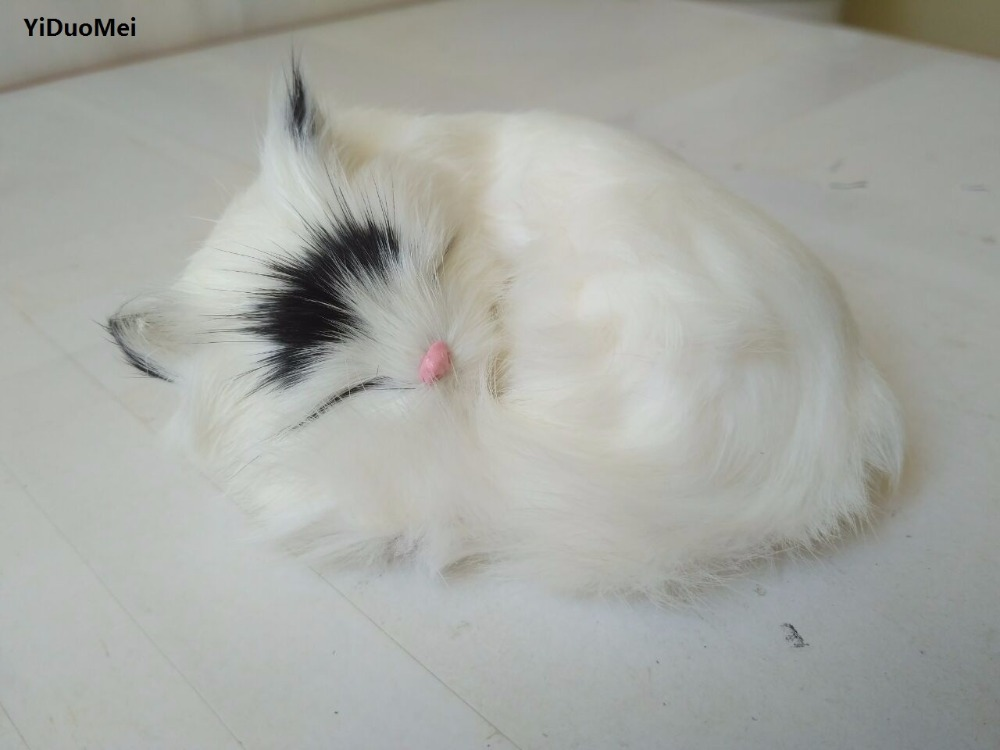 simulation sleeping cat 12x10cm model,plastic&furs sounds miaow white cat handicraft,home decoration,gift p0890