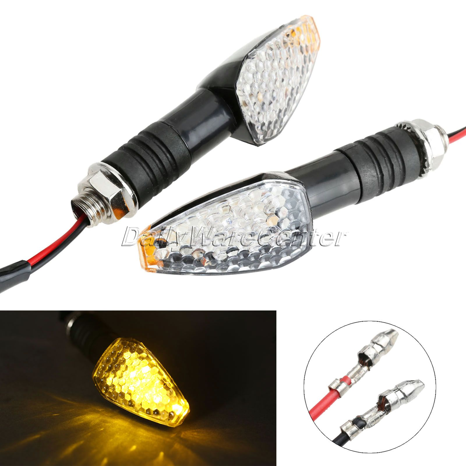 Mgoodoo 2pcs Universal Motorcycle Led Turn Singal Lights Lamp Motorbike Turn Light Indicators Flashers Blinker Amber Light Bulb