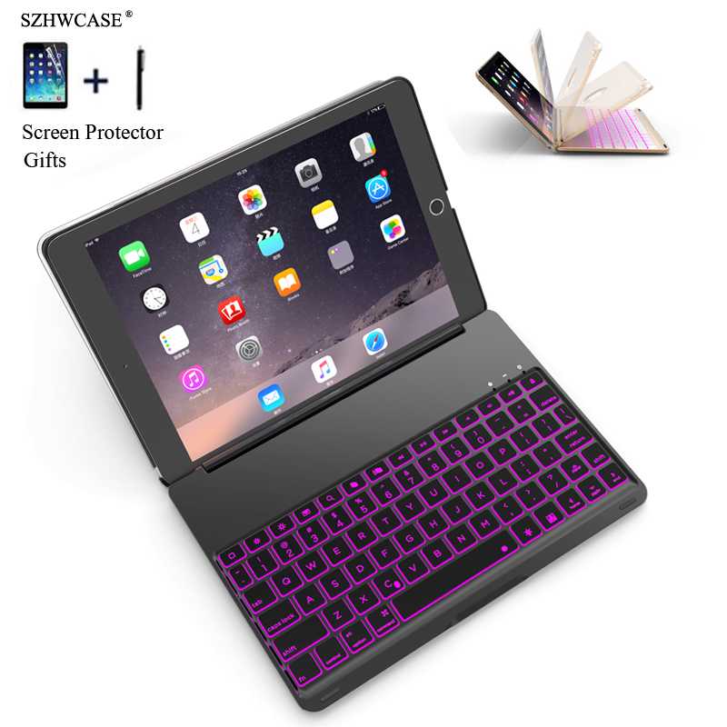 For iPad 2018 A1893 Colorful Backlight Wireless Bluetooth Keyboard Case Cover For iPad 9.7 2017 A1822 Aluminum Alloy Flip FundasFor iPad 2018 A1893 Colorful Backlight Wireless Bluetooth Keyboard Case Cover For iPad 9.7 2017 A1822 Aluminum Alloy Flip Fundas