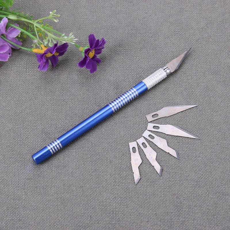 1 Set Metal Handle Scalpel Carving Knife Tool 5 Blade Wood Sculpture Engraving Cutter Craft Pen DIY Stationery Art Sharp Utility