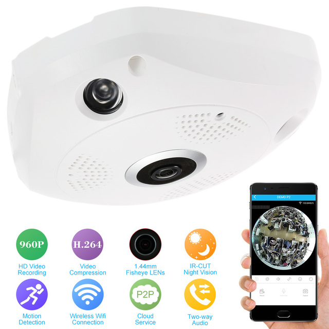 KKmoon 360 Degree Panoramic Camera IP 960P HD 1.3MP IP Camera Wifi Two Way Audio Fish Eye Panoramic Indoor Security CCTV Camera