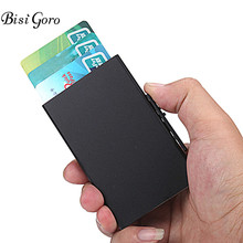 BISI GORO 2019 NEW Upgraded Version Side Push RFID Aluminum Automatic Card Holder Wallet ID Credit Card Business Dropshop