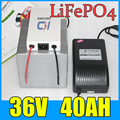 36V 40AH LiFePO4 Battery Pack , 1500W Electric bicycle Scooter lithium battery + BMS + Charger , Free Shipping