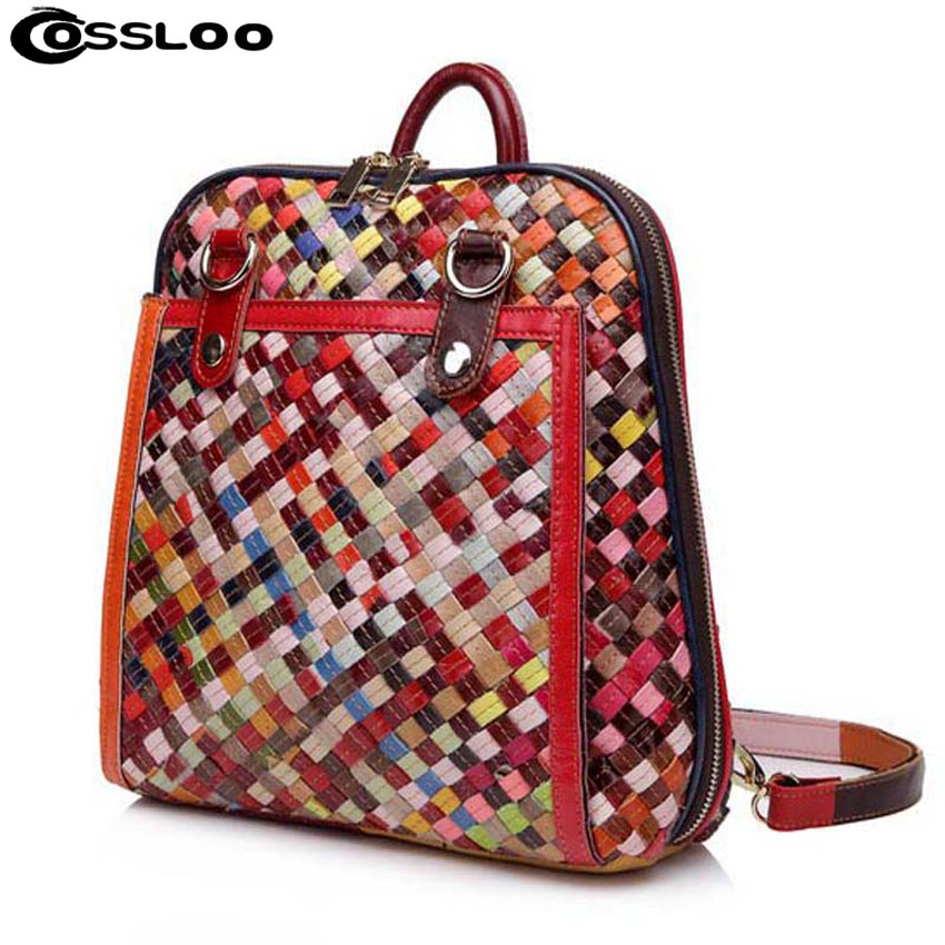 COSSLOO Designer Men Backpacks Weave Genuine Leather School Bag For Teenagers Women Backpack Travel Bolsas Mochila Feminina