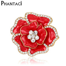 Large Red Rhinestone Brooches Wedding Bouquet Flowers Gold Brooch Pins For Women Cheap Fashion Jewelry Clothes Accessories