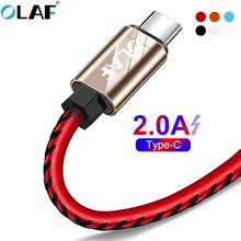 OLAF Leather Braided USB Type-C Cable Sync Data USB C Charging Cable For Samsung Galaxy S9 S8 Plus Note 9 Huawei Micro USB Cable(China)