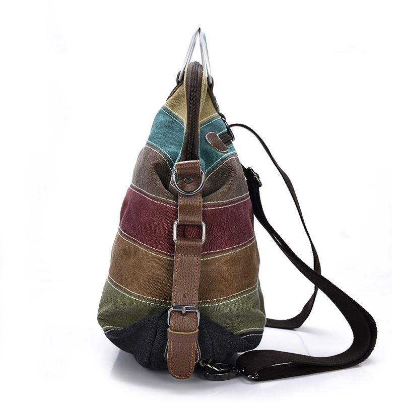 6c5e9ee12 High quality Canvas Backpack Patchwork Rainbow Color Bag Women Canvas  Backpacks Rucksack Multifunction Girls Crossbody Bagpack-in Backpacks from  Luggage ...