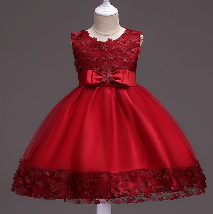 2018 Baby Flower Girl Dresses Cheap Children Clothes Shining Floral Party Dress for Girls Kids Wedding Tutu Dress Princess 2016 summer baby flower girls lace princess dress children lolita style party tutu dresses girl pink floral dress kids clothes