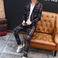 Male Spring Autumn New polyester Male small suit Fit youth casual Fashion business Slim trend men's plaid suit two piece