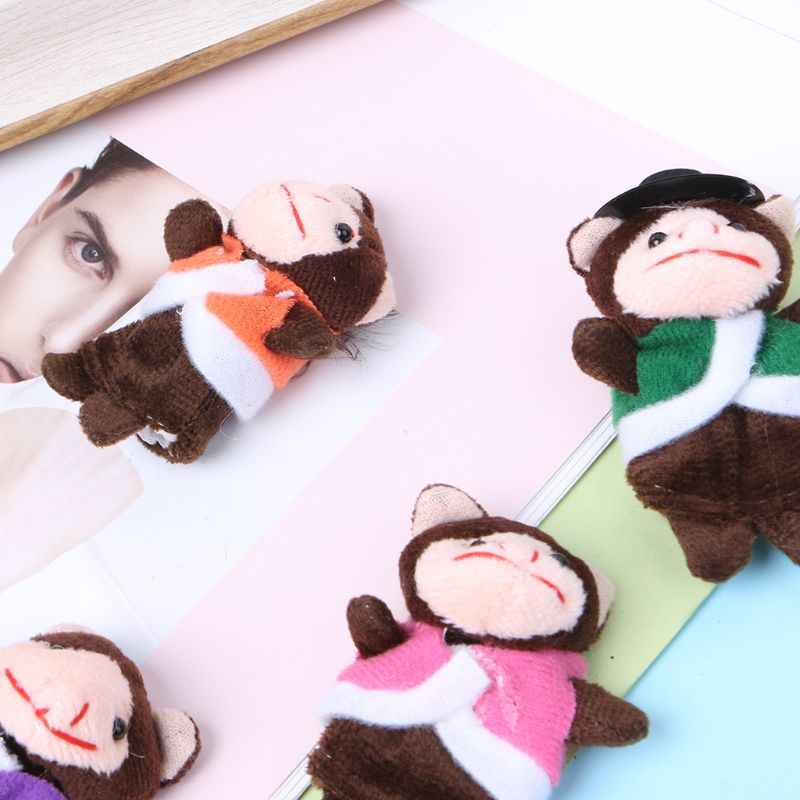 7Pcs Cartoon Animal Monkey Dolls Finger Puppets Set Mini Plush Baby Boys Girls Story Telling Hand Cloth Doll Educational Toys