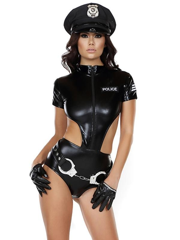 Sexy Women Police Costume 2018 New Arrivals Vinyl Female Cop Handcuffs Holloween Cosplay Costume Role Play Cops W850747 chic buttoned skinny women s police cosplay costume