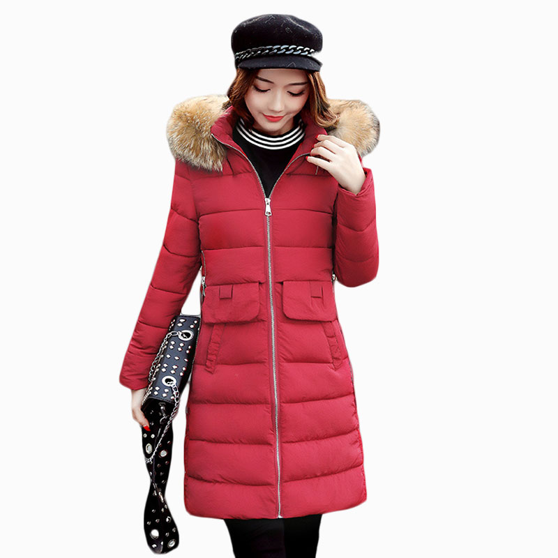 2017 NEW HOT WOMEN WINTER JACKER MID-LENGTH LARGE FUR COLLAR THICKEN WARM FEMALE PARKAS COTTON WADDED COAT HIGH QUALITY ZL576