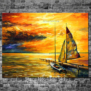 Household adornment ship painting abstract oil painting canvas wall picture modern household to decorate the living room 3