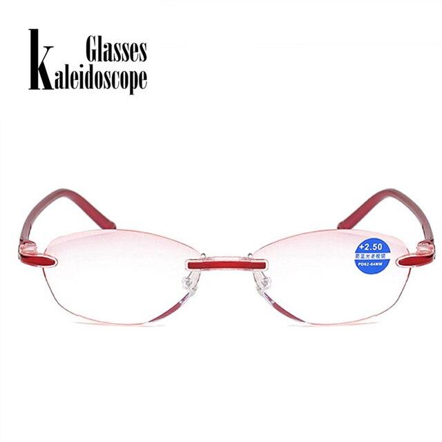 Kaleidoscope Glasses Anti Blue Light Rimless Reading Glasses Presbyopia Hyperopia Magnifier Unisex +1.0,+1.5,+2.0,+2.5 +3.0